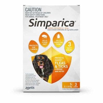 SIMPARICA Flea, Tick & Mite Treatment 5.1-10kg Dog