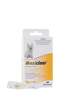 MOXICLEAR Flea & Worming Spot Treatment 4-10kg Dog 3 Pack