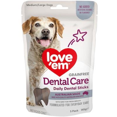 Love'em Love Em Dental Care Sticks Dog Treats Medium Large 145g