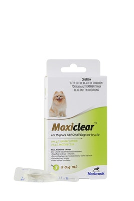 MOXICLEAR Flea & Worming Spot Treatment <4kg Dogs & Puppies 3 Pack