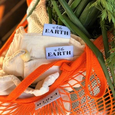 Us and The Earth Market Day Shopping Bundle - 6 Produce Bags and Mesh Shopping Tote