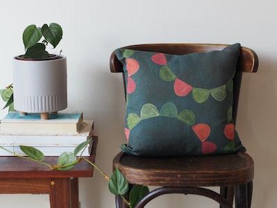 Printed linen cushion - Garden Party