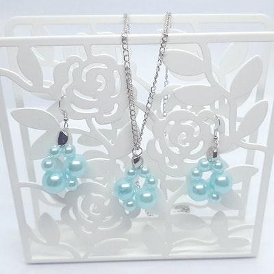 Rayhana's Store Sydney Aquamarine Hope Earing and necklace set