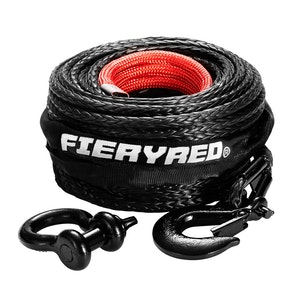 FIERYRED Winch Rope 10MM x 30M Dyneema SK75 Hook Synthetic Car Tow Recovery Cable Black
