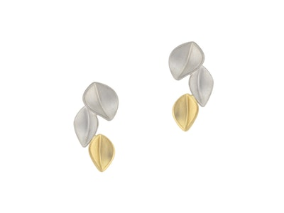 3 leaf gold and silver earrings
