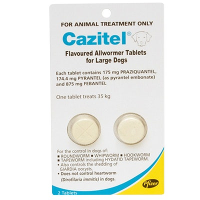 Pfizer Cazitel All Wormer for Dogs 35kg/Tablet x 2 Round Hook Whip Tape Worms