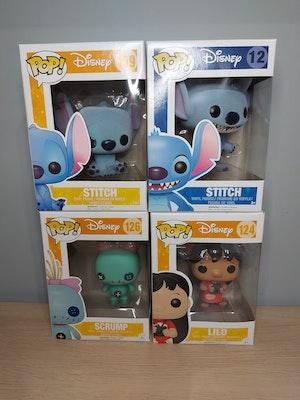 Lilo 124, Stitch 159 (flocked), Scrump 126 and Stitch 12 (flocked)