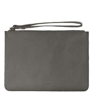 COBB & CO MOSSMAN LEATHER CLUTCH - CHARCOAL