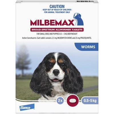 Milbemax Dog Under 5kg Broad Spectrum Allwormer Tablets - 2 Sizes