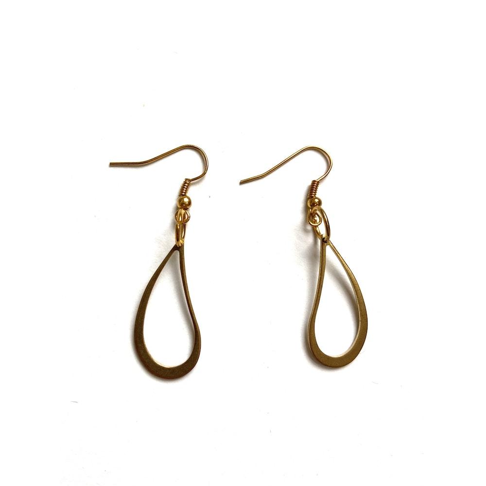 One of a Kind Club Tear Shaped Brass Earrings