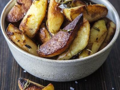 Italian Potatoes, Rosemary, Garlic. Serves 2.