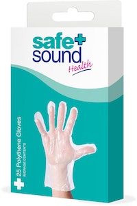 Safe + Sound Health Box Of 25 Polythene Medical Protective Gloves