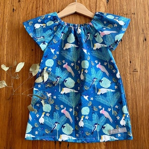 dress - cockatoos and galahs / organic cotton peasant-style / eco friendly / girl toddler / sizes 1-5 years