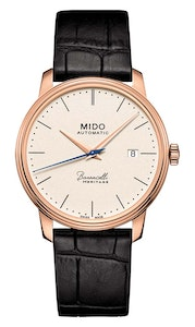Mido Baroncelli Heritage Gent - Stainless Steel with Rose Gold PVD - Black Leather Strap