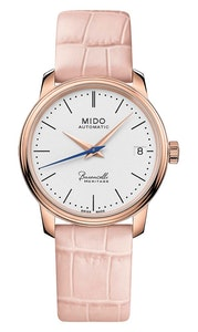 Mido Baroncelli Heritage Lady - Stainless Steel with Rose Gold PVD - Pink Leather Strap