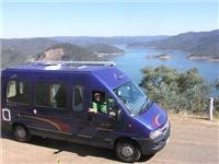 15 Campervan touring. On top of Mt Pinninger, with Eildon below