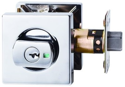 Lockwood 005 Paradigm double cylinder deadbolt with square face in Chrome Plate finish