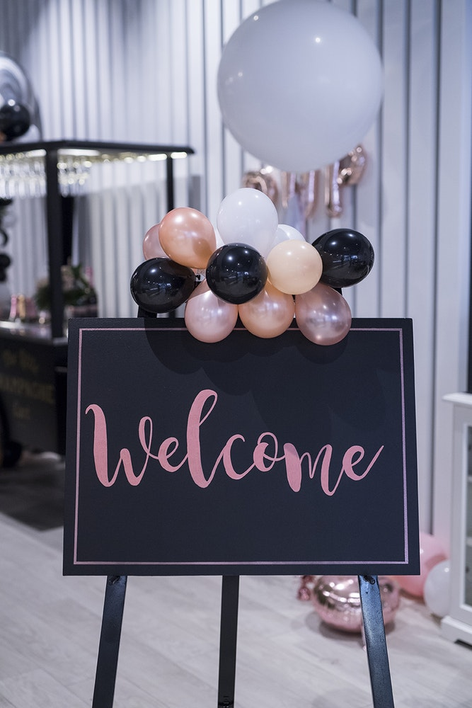 Favor Lane Champagne High Tea Welcome Sign
