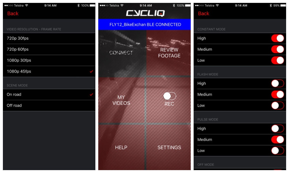 Cycliq fly12 screenshot app