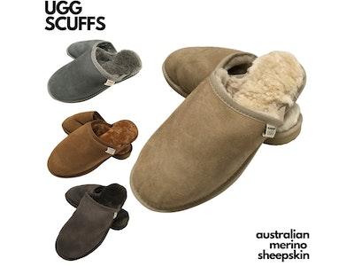 Boutique Medical 100% Australian Merino Sheepskin Scuffs Moccasins Slippers Winter Slip On UGG - Men's