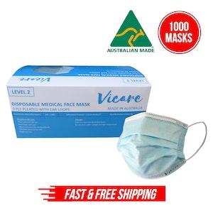 Disposable Medical Face Mask Level 2, 3 Ply (Australian Made) - 20 x 50pcs/box