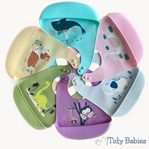 Tidy Babies  Baby Silicone Feeding Bib With Large Cartoon Print
