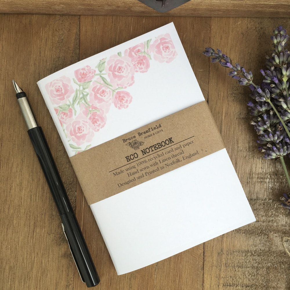 Bruce Bramfield Pink Roses Eco Notebook