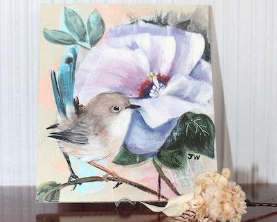 Sunbirds Design Original Small Acrylic Painting - Territorian No.1