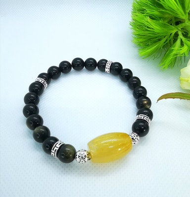 LinqGlo Collections Obsidian Crystal Bracelet