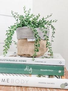 Mini Pot Plant Cover - Steel Linen Reversible Hessian