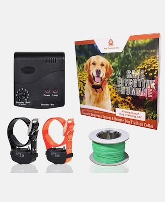 Pet Control HQ Waterproof Rechargeable Deluxe Electric Dog Fence System 2 Collars