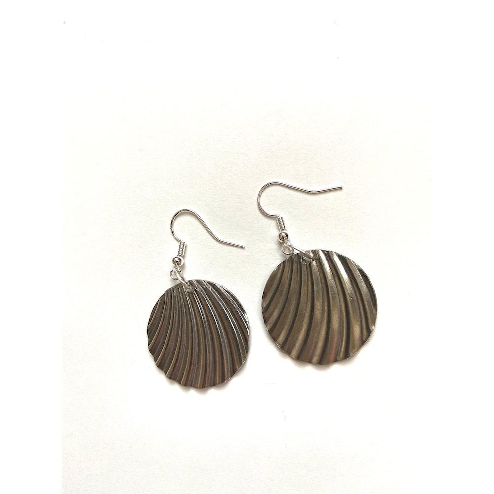 One of a Kind Club Wavy Circular Silver Earrings