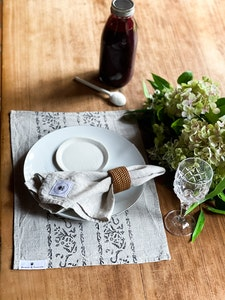 'Mary' Block Printed Linen Placemats
