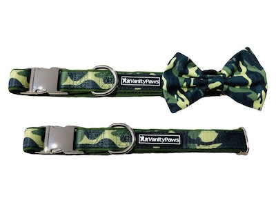 VanityPaws Green Camouflage - Collar & Removable Bow