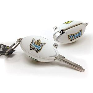 Creative Keys NRL Footy Flip Key Blank with Keyring LW4 - Gold Coast Titans