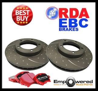 DIMP SLOT REAR DISC BRAKE ROTORS+ PADS for SUBARU WRX 2.0L 160Kw 10/2000-11/2002