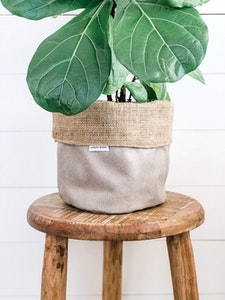 Pot Plant Cover - Pumice Vegan Leather and Hessian Reversible