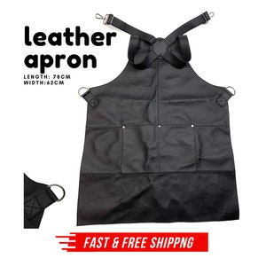 BUFFALO LEATHER APRON Cooking Chef Hairdresser Waterproof Durable Quality - Black