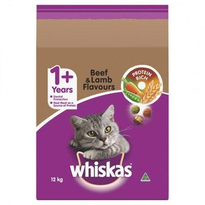 Whiskas Cat Food Vitabites 12kg Beef Lamb Dry Adult