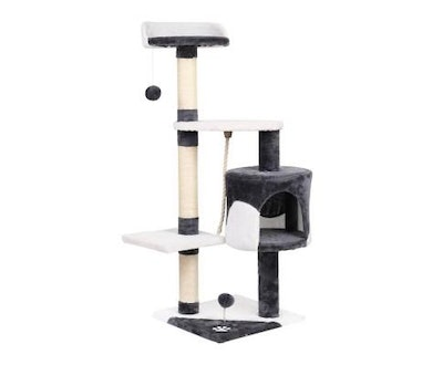 House of Pets Delight Pet Cat Scratcher Pole - White and Grey