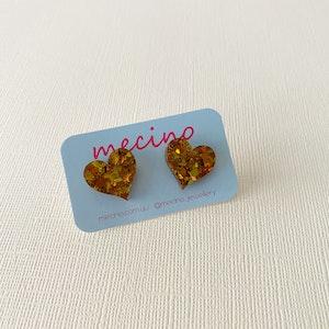 Sparkly Gold Heart Studs - Acrylic Stud Earrings