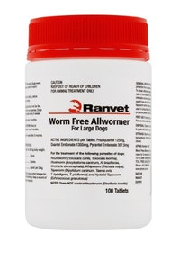 Ranvet Dog 25kg Allwormer Tablets