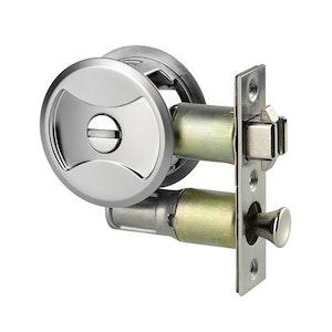 Lockwood 7400 cavity sliding door privacy lock in satin chrome pearl finish