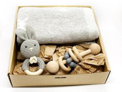Avie Designs Baby Blanket and Bunny Gift Box Grey