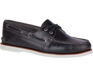 Boutique Medical Sperry Men's A/O Orleans 2 Eye Leather Boat Shoes Gold Cup Moccasins - Charcoal Grey