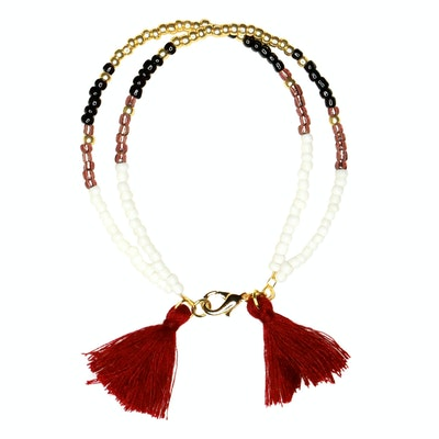 Global Sisters Shop Sofia Tassel Bracelet - Burgundy
