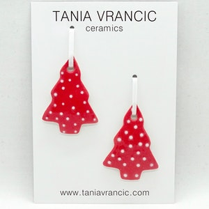 Porcelain Christmas Ornaments - 2 Dotty Small Trees - Red