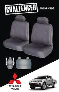 Canvas Seat Covers For Mitsubishi Triton 09/2009-10/2011 Black Dual-Cab