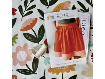 Pattern Scissors Frock SEWING PROJECT KIT for the CLEO SKIRT with Cotton Poplin or Mid-Weight Cotton