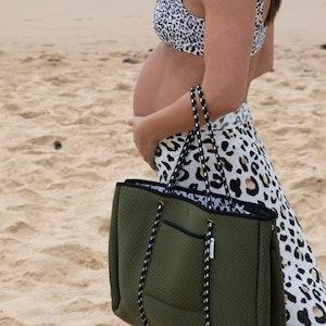 Anchor & Arrow Ultimate Mums Bag - Khaki / Leopard Print